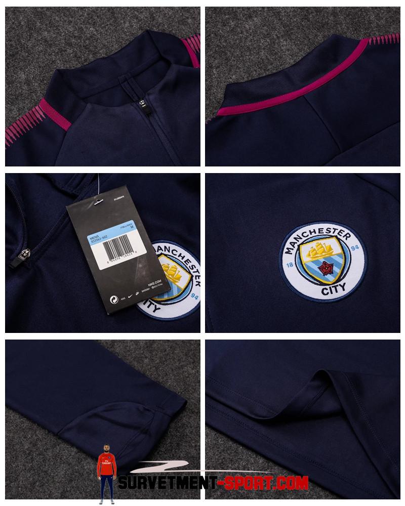 Ensemble Nike Survetements Football Manchester City 17/18 Bleu Fonce