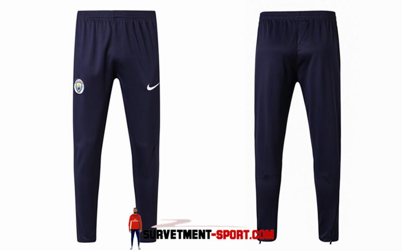 Nike Pantalon de Foot Survetement Manchester City Bleu Fonce 2017 2018